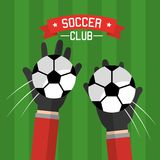 Soccer club hands goalkeeper balls competition Royalty Free Stock Photography