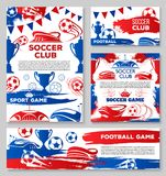 Vector soccer team football club posters. Soccer club posters or football game championship match banners design template of ball at arena stadium and team flags Stock Illustration