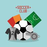 Soccer club t shirt ball whistle cards field sport equipment. Vector illustration Stock Images