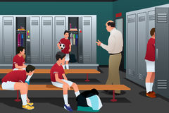 Soccer Coach Talking to the Players in the Locker Room. A vector illustration of Soccer Coach Talking to the Players in the Locker Room royalty free illustration