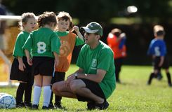 Girls Youth Soccer. Soccer coach teaching young girls how to play soccer on the next play Stock Images