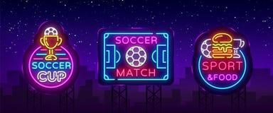 Soccer collection Neon Signs Vector. Football set Logos neon, design template emblem, soccer symbol, light banner royalty free illustration
