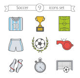 Soccer color icons set Royalty Free Stock Images