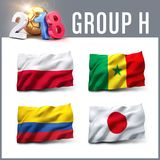 2018 soccer competition in Russia. Russia 2018 qualifying group H with team flags. International soccer competition. 3D illustration Stock Photo