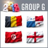 2018 soccer competition in Russia. Russia 2018 qualifying group G with team flags. International soccer competition. 3D illustration Royalty Free Stock Photography