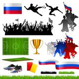 Soccer compilation with different symbols. / icons for worldcup 2018 in russia Royalty Free Stock Photos