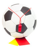 Soccer concept, ball, whistle, red and yellow card Royalty Free Stock Images