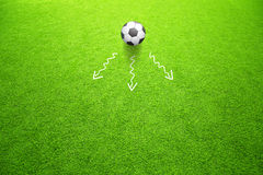 Soccer concept directions of ball movement Royalty Free Stock Image