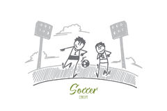 Soccer concept. Hand drawn isolated vector. Stock Photos