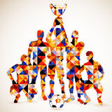 Soccer Concept. Silhouette Soccer Players and Ball in Mosaic Pattern, vector illustration Stock Image