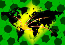 Soccer connection on world map Royalty Free Stock Photos
