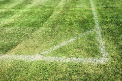 Soccer corner. Ready for a game: soccer or football corner white chalk delimitation of a field on natural grass Royalty Free Stock Images