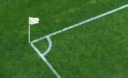 Soccer corner flag. A corner flag on a soccer stadium green grass Royalty Free Stock Photos
