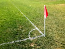 Soccer Corner Flag and Boundary Lines. Soccer or Football boundary lines on a grassy field Royalty Free Stock Images