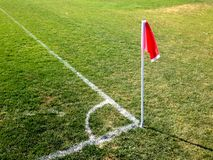 Soccer Corner Flag and Boundary Lines. Sporting field. Soccer or Football boundary lines on a grassy field royalty free stock photo