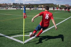 Soccer Corner Kick. Valencia, Spain - April 10, 2016: An unkown soccer player takes a corner kick during a men's soccer league game Stock Images