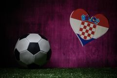 Soccer 2018. Creative concept. Soccer ball on green grass. Support Croatia team concept. Selective focus Stock Photo