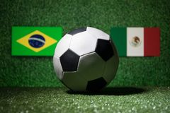 Soccer 2018. Creative concept. Soccer ball on green grass. Support your country or cheer concept. royalty free stock images