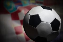 Soccer 2018. Creative concept. Close up view of soccer ball. Support your country or cheer concept. Selective focus Stock Photography