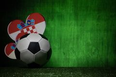 Soccer 2018. Creative concept. Soccer ball on green grass. Support Croatia team concept. Selective focus Stock Image