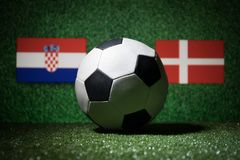 Soccer 2018. Creative concept. Soccer ball on green grass. Support your country or cheer concept. Selective focus Royalty Free Stock Image