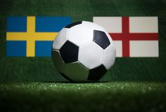 Soccer 2018. Creative concept. Soccer ball on green grass. Support your country or cheer concept. Selective focus Royalty Free Stock Photos