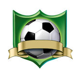 Soccer crest award with blank gold label Royalty Free Stock Photo
