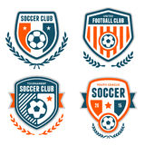 Soccer crests. Set of soccer football crests and emblem designs stock illustration