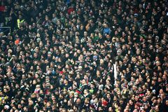 Soccer crowd in a stadium Royalty Free Stock Images