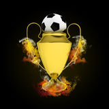 Soccer Cup and ball in colored smoke Stock Photos