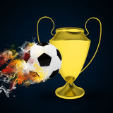 Soccer Cup and ball in colored smoke Stock Photo