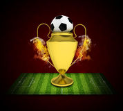 Soccer Cup and ball in colored smoke Royalty Free Stock Photography