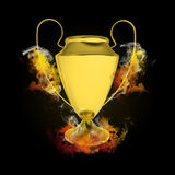 Soccer Cup in colored flames and smoke Royalty Free Stock Images