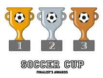Soccer Cup Finalists Awards in Gold, Silver and Bronze. Vector Symbols Royalty Free Stock Photos
