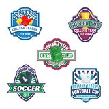 Soccer cup and football sport club badge set. Football game field, soccer ball, champion trophy cup, goalkeeper gloves, referee whistle and card vector symbol Stock Photography