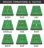 Soccer cup formation and tactic . Set of perspective football field and players on white isolated background . Vector for internat. Ional world championship Royalty Free Stock Photography
