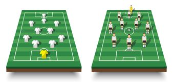 Soccer cup formation and tactic . Set of perspective view football field and players with jersey on white isolated background . Ve. Ctor for international world Stock Images