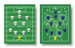 Soccer cup formation and tactic . Set of top view football field and players with jersey on white isolated background . Vector for. International world Stock Image