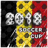 Soccer cup 2018. Pattern for football championship. A hand drawn soccer ball vector pattern and a Belgium flag. Set of flags Stock Image
