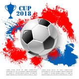Vector poster for soccer cup or football club. Soccer cup 2018 poster of banner design template. Vector 3D football ball flying to goal gates and red or blue Stock Photography