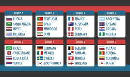 Soccer Cup in Russia group stage, world tournament table with all countries after the draw, football championship. Soccer Cup in Russia, group stage table Stock Photo