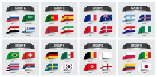 Soccer cup 2018 . Set of national flags team group A - H . Sticky note design . Vector for international world championship tourna. Ment Stock Photography
