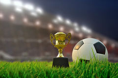 Soccer cup and soccer field, stadium with fans the night before Royalty Free Stock Images