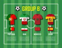 Soccer cup 2018 team group B . Football players with jersey uniform and national flags . Vector for international world championsh Stock Photos