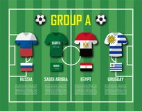 Soccer cup 2018 team group A . Football players with jersey uniform and national flags . Vector for international world championsh Stock Photography