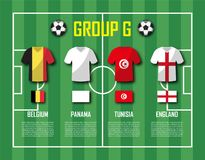 Soccer cup 2018 team group G . Football players with jersey uniform and national flags . Vector for international world championsh Stock Images