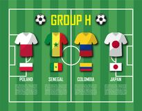 Soccer cup 2018 team group H . Football players with jersey uniform and national flags . Vector for international world championsh Stock Photo