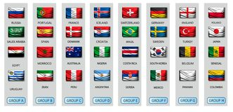 Soccer cup 2018 team group set with national flags. Vector Stock Photography