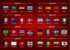 Soccer cup team group set . Realistic wavy national flags on gradient red color background . Vector for international world champi Royalty Free Stock Images