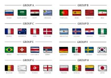 Soccer cup team group set . Realistic wavy national flags . Vector for international world championship tournament 2018 Stock Photography